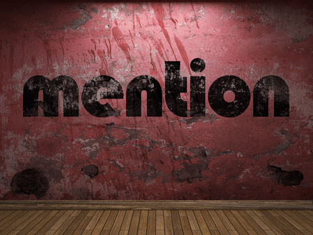 mention: mention word on red wall