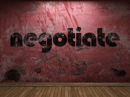 negotiate: negotiate word on red wall Stock Photo