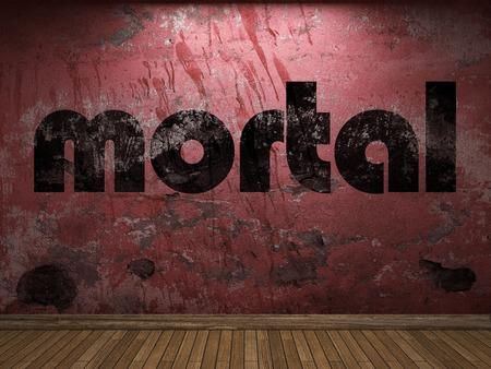mortal: mortal word on red wall Stock Photo