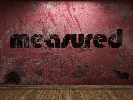 measured: measured word on red wall