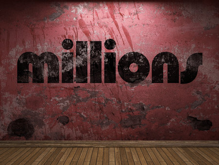 millions: millions word on red wall Stock Photo