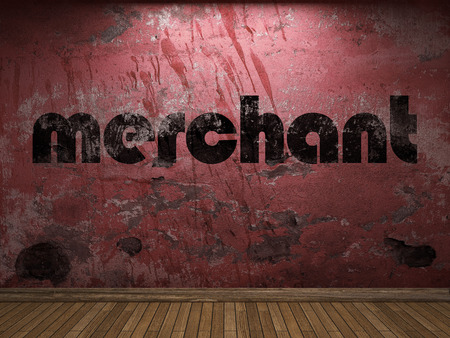 merchant: merchant word on red wall Stock Photo