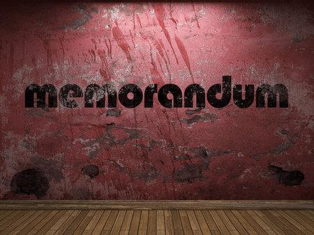 memorandum: memorandum word on red wall Stock Photo