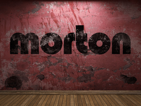 diesel generator: morton word on red wall Stock Photo