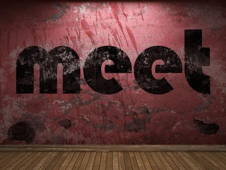 meet: meet word on red wall Stock Photo