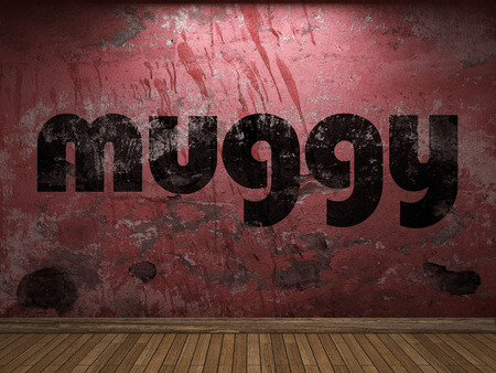 muggy: muggy word on red wall Stock Photo