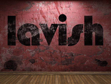 lavish: lavish word on red wall