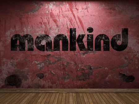 mankind: mankind word on red wall