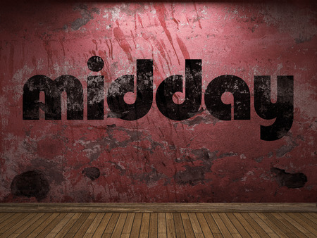 midday: midday word on red wall