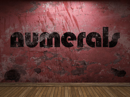 numerals: numerals word on red wall Stock Photo