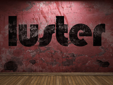 luster: luster word on red wall Stock Photo