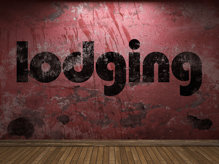 lodging: lodging word on red wall