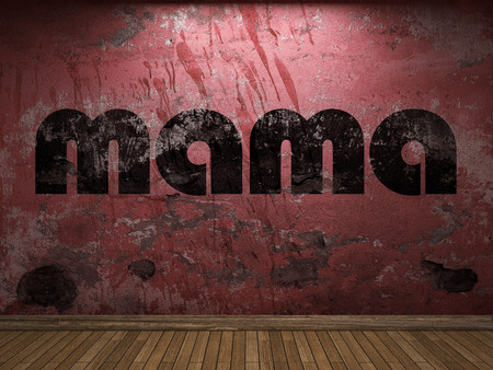 mama: mama word on red wall