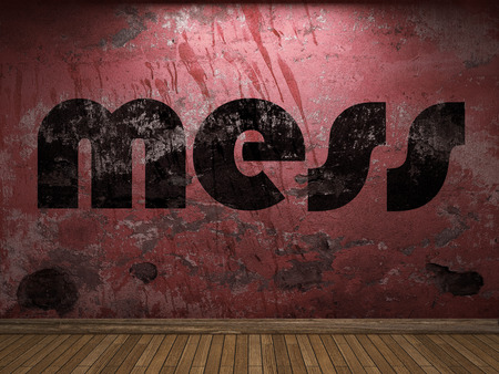 mess: mess word on red wall Stock Photo