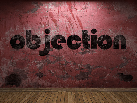 objection: objection word on red wall Stock Photo