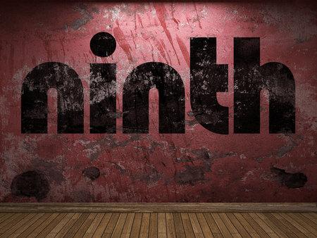 ninth: ninth word on red wall