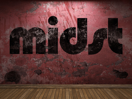 midst: midst word on red wall
