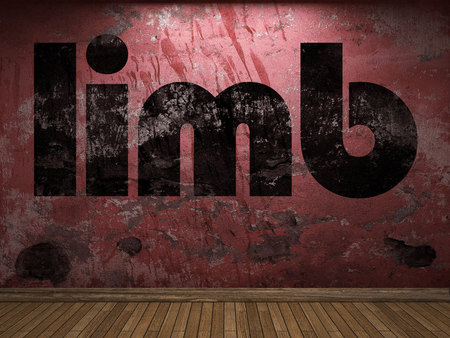 limb: limb word on red wall Stock Photo
