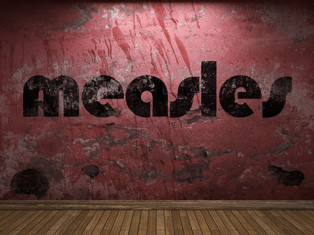 measles: measles word on red wall Stock Photo