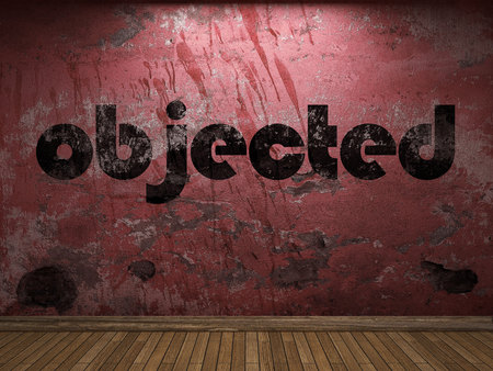 objected: objected word on red wall