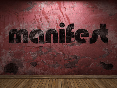 manifest: manifest word on red wall Stock Photo