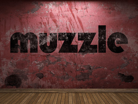 muzzle: muzzle word on red wall Stock Photo