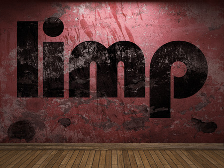 limp: limp word on red wall