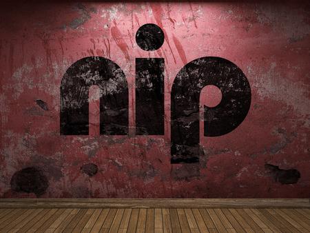 nip: nip word on red wall