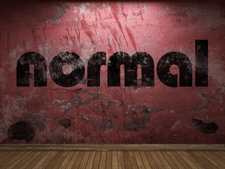 normal: normal word on red wall Stock Photo