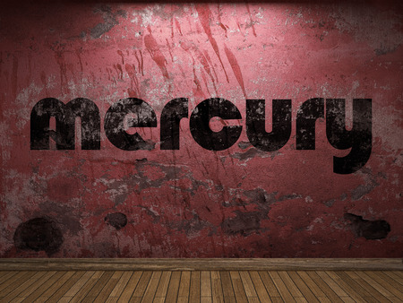 old mercury: mercury word on red wall Stock Photo