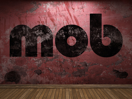 mob: mob word on red wall