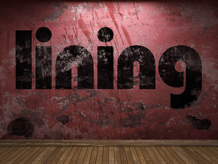lining: lining word on red wall