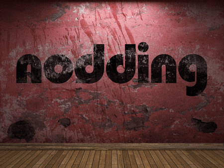nodding: nodding word on red wall