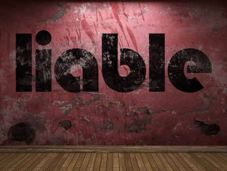 liable: liable word on red wall