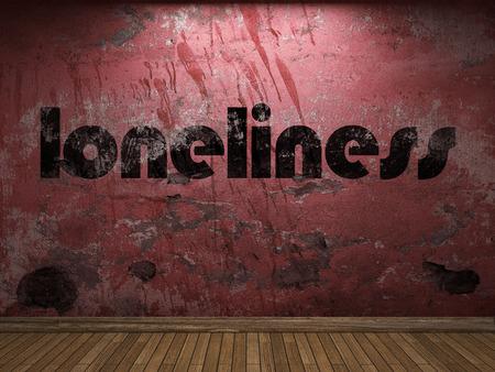 soledad: palabra soledad en la pared roja