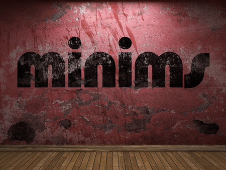 minims: minims word on red wall