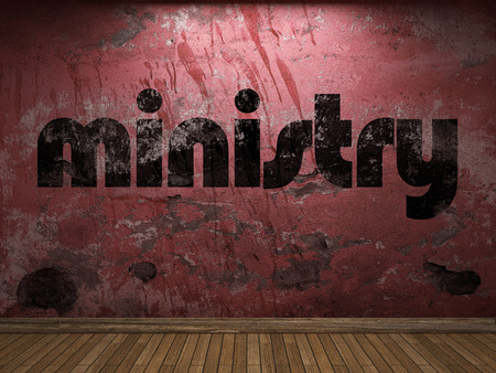 ministry: ministry word on red wall