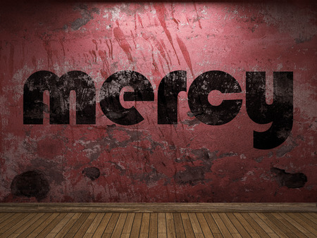 mercy: mercy word on red wall