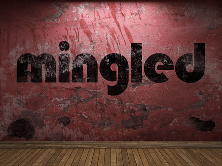 mingled word on red wall