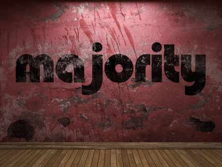 majority: majority word on red wall