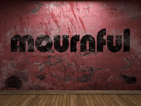 mournful: mournful word on red wall