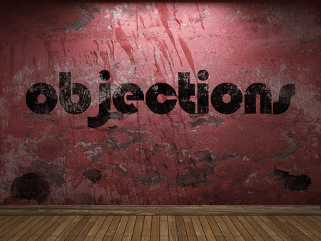 objections: objections word on red wall