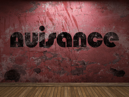 nuisance: nuisance word on red wall Stock Photo