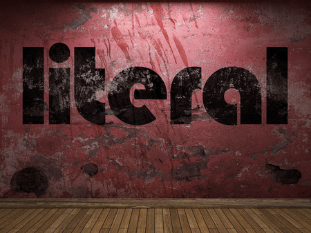 literal: literal word on red wall
