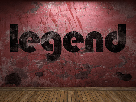 legend: legend word on red wall Stock Photo