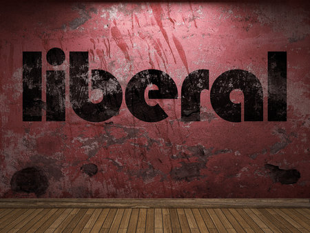 liberal: liberal word on red wall