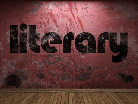 literary: literary word on red wall