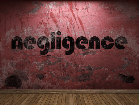 negligence: negligence word on red wall Stock Photo