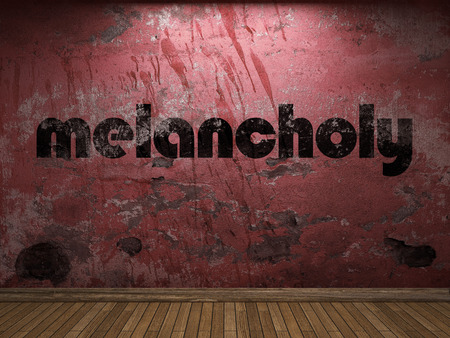 melancholy: melancholy word on red wall