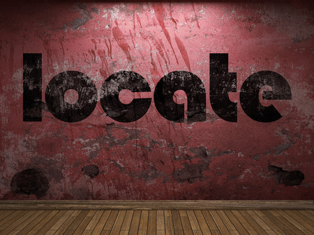 locate: locate word on red wall